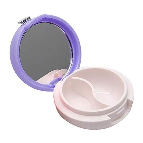 dailymall Pot Cosmétique Vides Récipient Cosmétique Vide en Verre Portable pour Visage Lotion Crème Poudres Onguent avec Miroir Portable - Violet