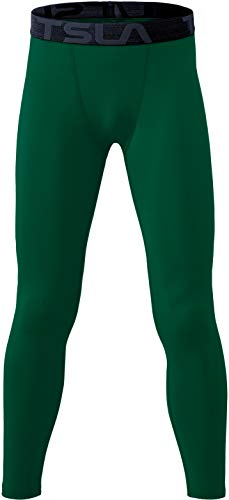 TSLA Boys Youth UPF 50+ Compression Pants Baselayer, Cool Dry Active Running Tights, Sports 4-Way Stretch Workout Leggings, Active(kup29) - Green, X-Small