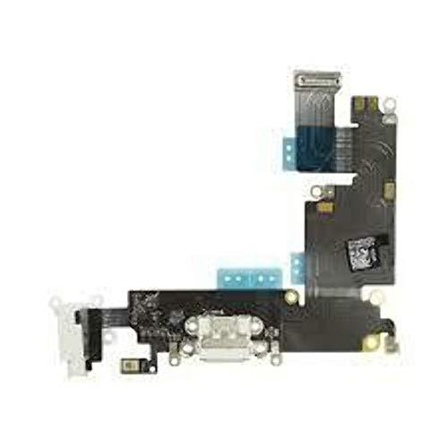 XcellentFixParts Reemplazo Conector Dock para iPhone 6 Plus (Gris), con Puerto USB, Micrófono, Audiojack, Conexión de Antena y botón de Inicio Instalado Flex Cable