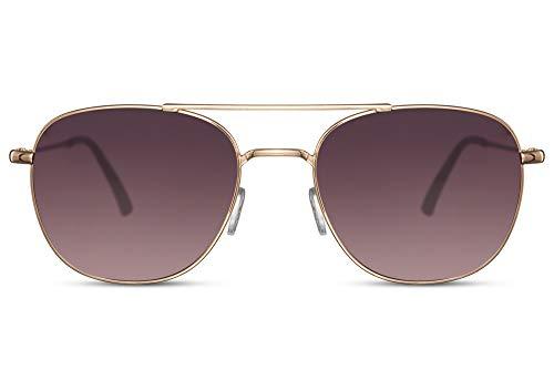 Cheapass Gafas de sol Rojoondas Doradas Metálicas Puente Doble Estilo Italiano Clásico con Cristales Graduales Ahumados con protección UV400 Hombres