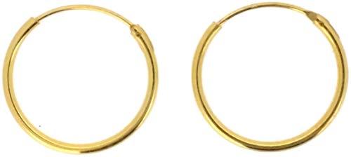 PINTI Pendientes de aro de plata de ley 925 | Tamaño: 30 mm | Estilo: Oro amarillo sumergido |