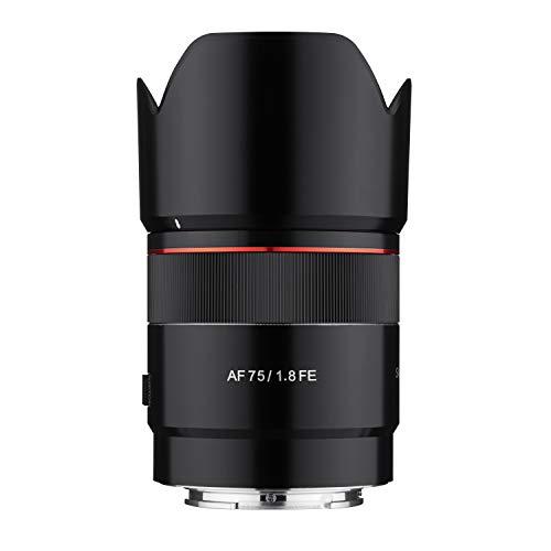 Samyang AF 75 mm F1.8 FE ( Tiny but Absolute ) – Porträt Objektiv Autofokus Vollformat und APS-C Festbrennweite Sony E Mount für Sony A9 II A7 III A6600 A6500 A6400 A6300 A6000 A5100 A5000 Nex Kamera