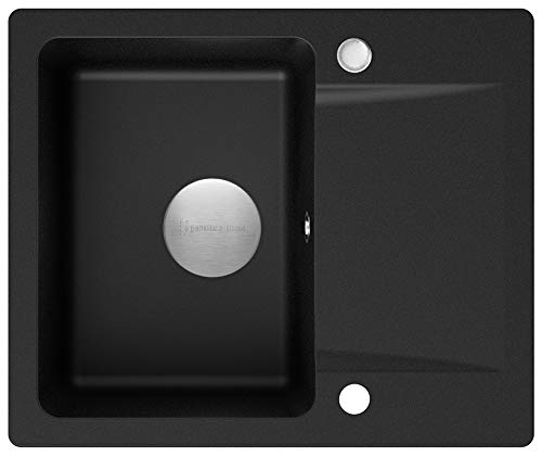 Spülbecken Schwarz 60 x 50 cm, Granitspüle + Siphon Premium, Küchenspüle ab 45er Unterschrank, Einbauspüle von Primagran
