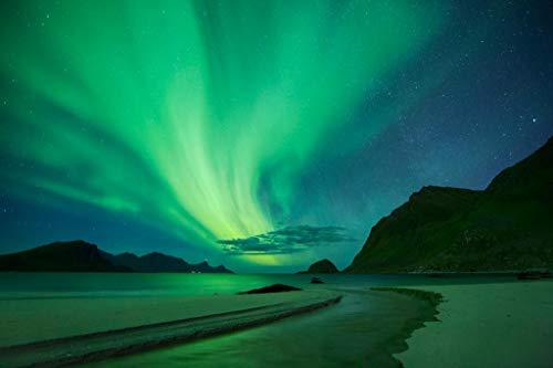 Northern Lights Aurora Borealis Haukland Beach Norway Star Night Photo Cool Wall Decor Art Print Poster 36x24