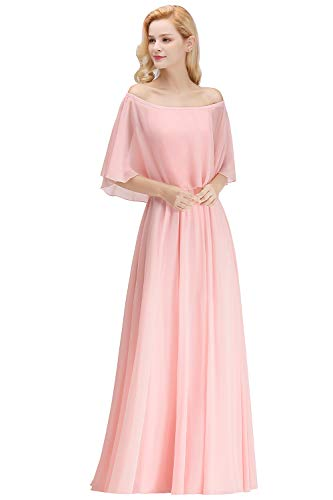 Fatapaese Women Off The Shoulder Cape Maid of Honor Dress Pink
