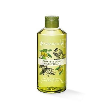 Yves Rocher LES PLAISIRS NATURE Duschbad Olive-Petitgrain, Aroma-Schaumbad & pflegendes Duschgel, 1 x Flacon 400 ml
