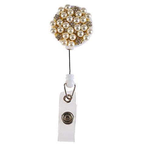 Handmade Fashion Luxury Retractable Bling Crystal Mix Pearl Alloy Flower Badge Reel Clip Holder,Rhinestone Medical Nurse Badge ID, Badge Holder, ID Holder, Office Employee Name Badge Reel Clip