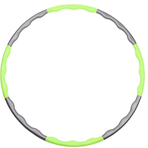 Naisidier Ejercicio Hoop, 8 segmentos Distribución de aro Adultos Niños Peso Ajustable Ejercicio Hoops Fitness Hoop Ring Regalo para Principiantes Profesionales (Green + Gray)