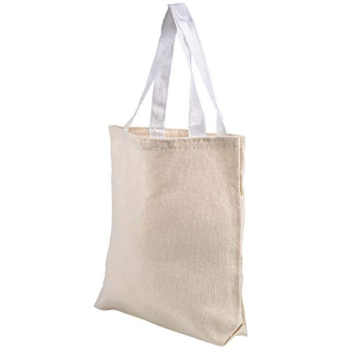 8.75 Inch Canvas Tote Bags Set of 12