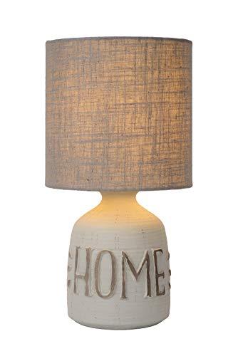 Lucide Cosby–Lámpara de mesa–Diámetro 16,5Cm–Color Blanco, cerámica, gris, E14 40 wattsW 230 voltsV