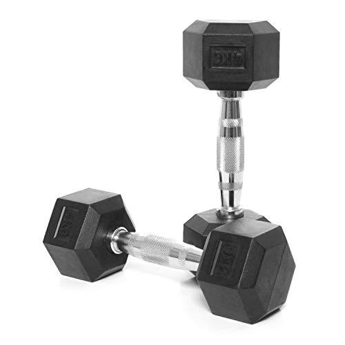 CORE-Power Hexagon Hanteln 4kg - Kurzhanteln Set für Studio, Fitness, Crossfit - Hex Hantel Set mit Gummi Beschichtung und Chrom Griff