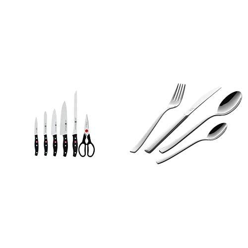 Zwilling TWIN POLLUX Set de 5 cuchillos y tijera doméstica multiusos, color negro + Bela Set de cubiertos de mesa, 42 piezas, acero inoxidable, 35 x 25 x 10 cm