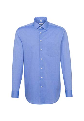 Seidensticker Herren Business Hemd Regular Fit Langarm, Blau (mittelblau), 42
