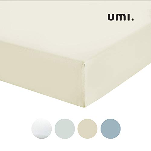 UMI. by Amazon - Sábana Bajera de satén de algodón 100%, Cama Individual, 300 Hilos, Marfil