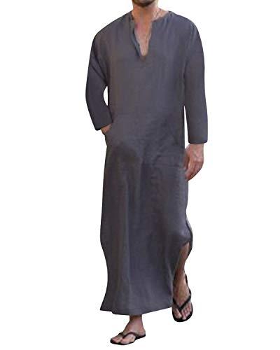 Jacansi Pijama informal de lino para hombre con cuello en V, con bolsa, tallas 36-46 02 Lila 42