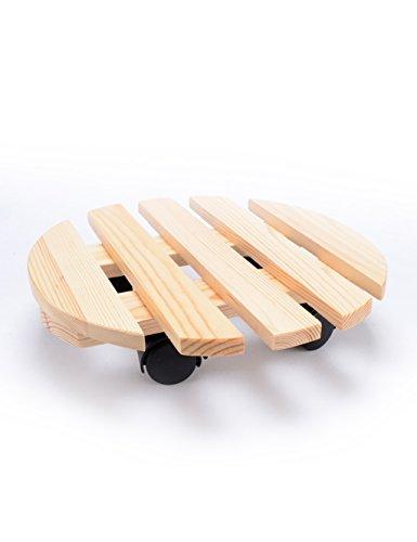 LB Plateau mobile en bois Plateau de support en bois massif Il peut déplacer la roulette avec le support de fleur de frein intérieur Étagère de pot de montage ( couleur : A )