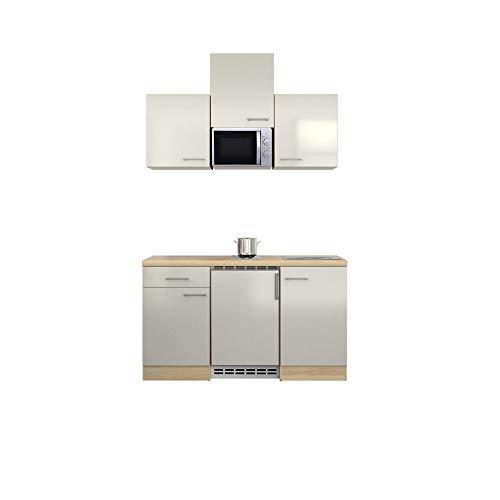MMR Singleküche DERRY - Küche mit E-Geräten - 2er Elektro-Kochfeld - Mikrowelle - 10-teilig - Breite 150 cm - Perlmutt Weiß