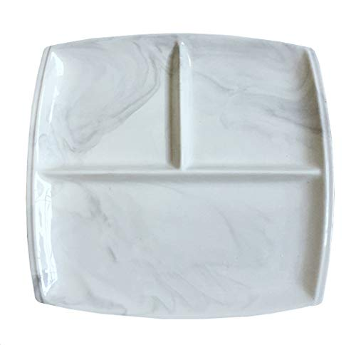 FUYU Keramik Marmor geteilter Teller Western Essteller Snackteller Salatteller