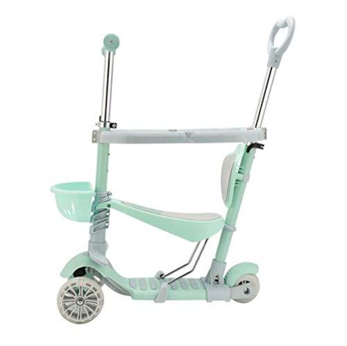 WYZXR Patinete Desmontable para niños pequeños,Mini Patinete de 3 Ruedas Ajustable en Altura,Andador con Asiento y Ruedas con luz LED,para niños,niñas,de 3 a 15 años,bebé T