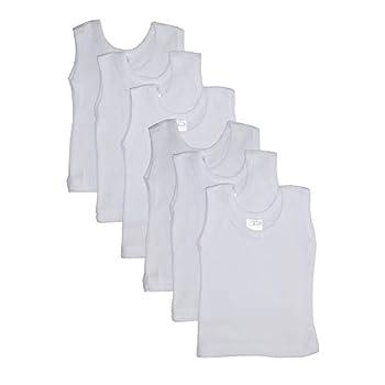 bambini Baby White Rib Knit Sleeveless Tank Top Shirt  Small 6 - Pack