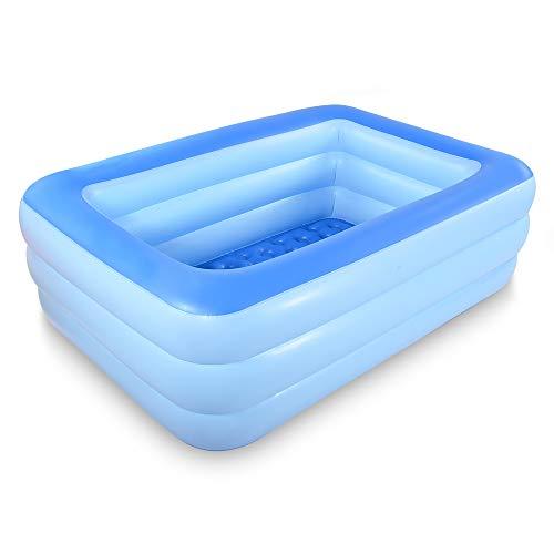 Bañera inflable con piso suave inflable, extra grande, plegable para adultos, bañera portátil antideslizante, para spa familiar, piscina hinchable para verano (azul)