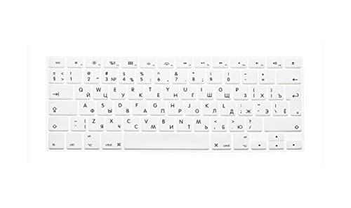 Laptop Keyboard Protective Film Waterproof For MacBook Pro air 13'15' Russian EU Notebook Keyboard Cover Dustproof Film Silicone-White-