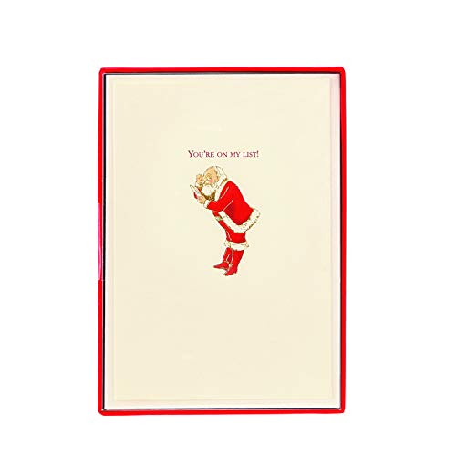 Graphique You're On My List Boxed Cards — 15 Santa Checking His List Holiday Cards with Embellished Gold Foil and Glitter, Christmas Cards Includes Matching Envelopes and Storage Box, 3.25' x 4.75'