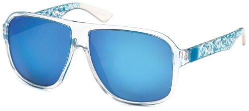 FEINZWIRN trendige Sonnenbrille Fussy in moderner Rechteckform, verspiegelt und mit farbigen Gläsern + Brillenbeutel (Blau)