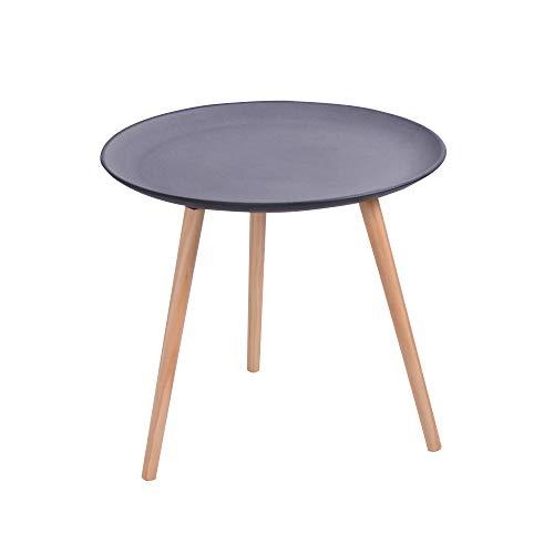 CRIBEL model Sharm Plus houten tafel met tafelblad in beton-look en tafelpoten van beuken, hoogte 50 cm