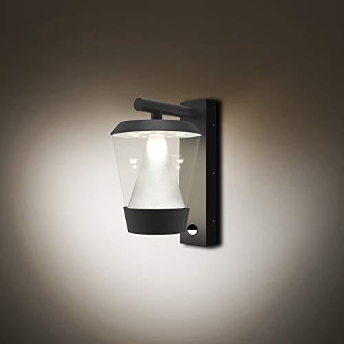 FLORNIA Lámpara de exterior LED con detector de movimiento, iluminación exterior, resistente a la intemperie, lámpara de puerta para jardín, 220-240 V, 4000 K, 13 W, IP44, gris oscuro