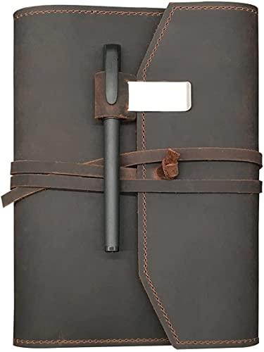 Cuaderno de Escritura de Diario de Cuero Recargable A5 - Diario de Viaje de Cuero Hecho a Mano, Diario de Viaje, Escritura Sketchbook para Escribir en el portátil de Papel Retro Kraft (Color : Gray)