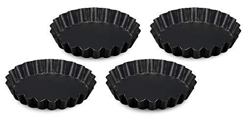 FORMEGOLOSE, set 4 crostatine, 12 cm, realizzate in acciaio con doppio strato antiaderente, colore nero