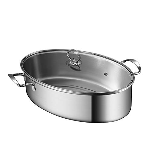 R&P Cucina Pentola di Pesce Multifunzione Pesciera Pentola Vapore Ovale, 15.3 in, Argento