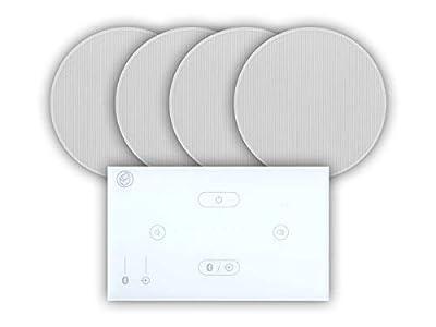 "Systemline E50 Built-In Bluetooth Amplifier Hi-Fi Speaker System (White) & 6.5"" Ceiling Speakers (2 Pair 6.5"" Qi65CB Ceiling Speakers) from Systemline"
