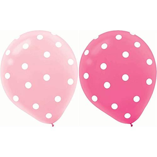 jingyuu Ballons Ronde Point Ballon de Latex Gonflable pour Anniversaire Décoration de Fête de Valentines - 10 Rose foncé + 10 Rose Clair