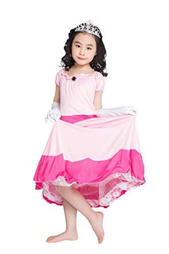 thematys Super Mario Prinzessin Peach Kleid - Kostüm-Set für Mädchen - perfekt für Fasching, Karneval & Cosplay - 4 Verschiedene Größen (L, 130-140cm)