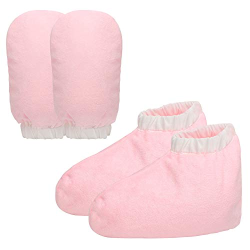Paraffin Wax Mitts and Booties, Segbeauty Snug Elastic Opening Insulated Terry Cloth Mittens for Hand and Foot, Gloves and Booties for Paraffin Warmers SPA Heated Therapy