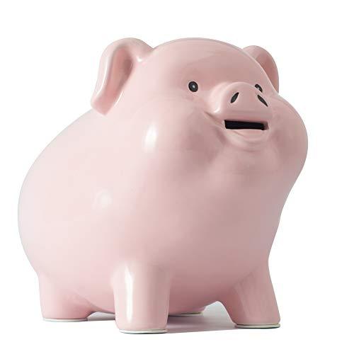 Pig World Ceramics Piggy Bank for Adults Must Break to Open Boys and Girls Gift Savings Money Kids Décor Keepsake (Pink)