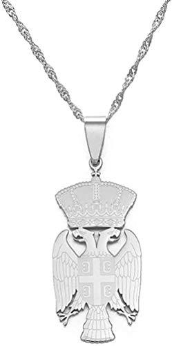 BEISUOSIBYW Co.,Ltd Collar de la República de Serbia, Collares con Colgante de águila para Mujeres, Hombres, Color Plateado/joyería de Color Dorado, Regalos serbios de 45 cm