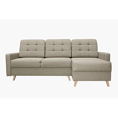 mb-moebel Ecksofa Sofa Eckcouch Couch mit Schlaffunktion und Bettkasten Ottomane L-Form Schlafsofa Bettsofa Polstergarnitur - Carla (Ecksofa Rechts, Beige)