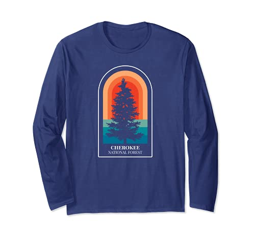 Retro Cherokee National Forest Tennessee Hiking Long Sleeve T-Shirt