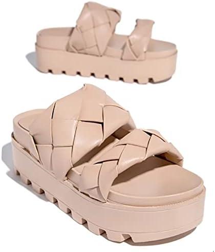 DTTBlue Summer Weaving Platform Thick Heel Women Slippers Wedges Height Increasing Solid Ladies Slides Outdoor Beach Sandals Female