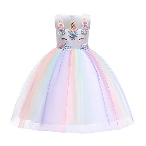 Unicorno Costume Carnevale Cosplay Vestito Bambina Neonata Principessa Fiori Abito da Sposa Elegante...