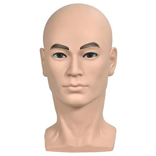 Cabeza de maniquí WanSi masculina calva para crear pelucas y mostrar sombreros o gafas. Con soporte