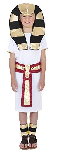 Smiffys Costume égyptien, Blanc, avec robe, ceinture, coiffe et chaîne de cheville