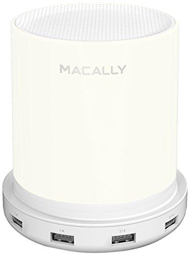 Macally LAMPCHARGE-EU Dimmbare Tischlampe mit USB-Ladegerät (24 W), Touch-Sensor, sanftes warmweißes Licht (Eurostecker)