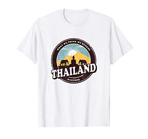 Thailand Bangkok Buddha Statue Elephants Vintage Gift T-Shirt