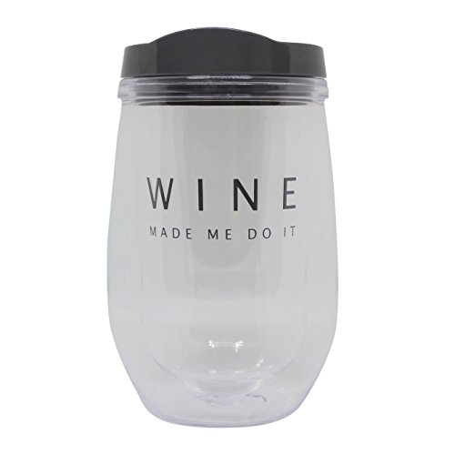 Insulated Stemless Wine Tumbler with Lid, 10 oz Spill proof Adult Sippy Cup (Grey WINE MADE ME DO IT)