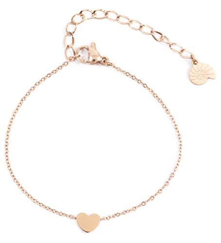 Happiness Boutique Damen Herz Armband in Rosegold | Zarte Armkette mit Herz Anhänger Edelstahlschmuck