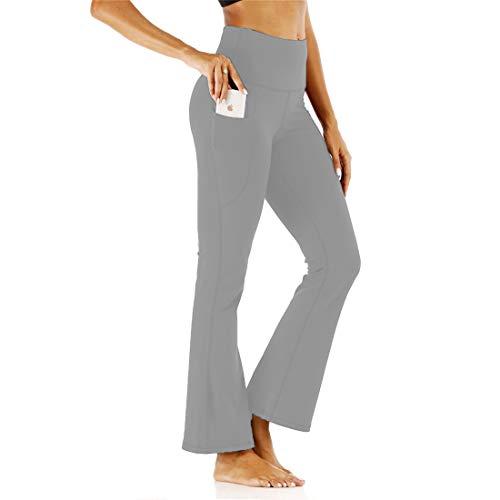 Fliegend Damen High Wasit Yogahose Bootcut Schlaghose Freizeithose Mit Taschen Jogginghose Strech Sporthose Pluderhose Langehose XL